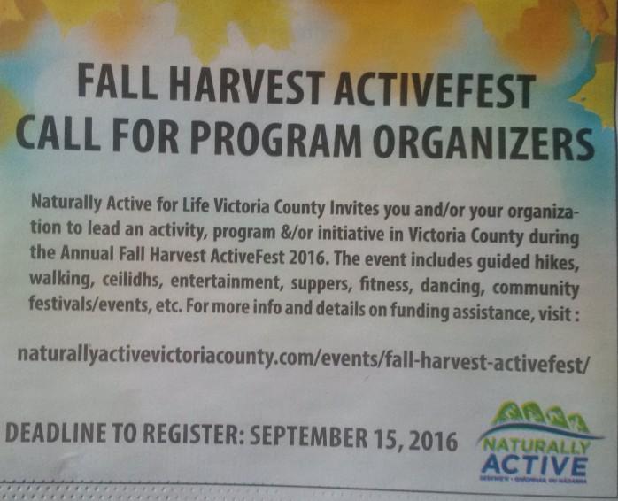 FallHarvestActiveFest2016CallOutVictoriaStandardAugust22016