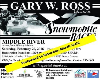 GaryRossSnowmobile RacesPosterPostponement2016